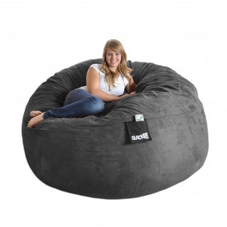 Round 6-foot Charcoal Grey Microfiber and Foam Bean Bag