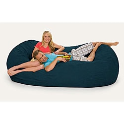 Oval 8-foot Navy Blue Microfiber and Foam Bean Bag