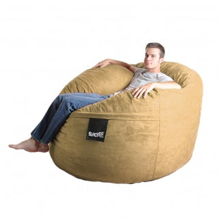 Tan 5-foot Microfiber and Foam Bean Bag