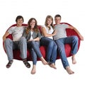 Oval 8-foot Cinnabar Red Microfiber and Foam Bean Bag