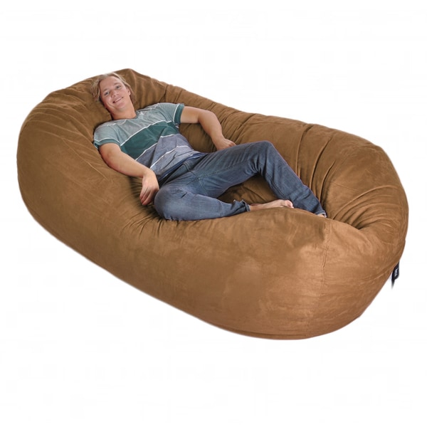 Eight-foot Oval Earth Brown Microfiber and Memory Foam Bean Bag