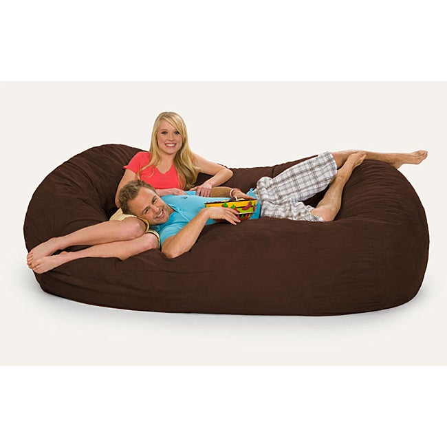 Oval Dark Brown 8-foot Microfiber and Memory Foam Bean Bag