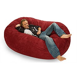 Six-foot Oval Cinnabar Red Microfiber and Foam Bean Bag