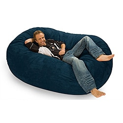 Six-foot Oval Navy Blue Microfiber and Foam Bean Bag
