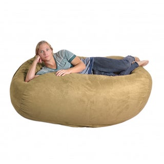 Oval 6-foot Light Brown Microfiber and Memory Foam Bean Bag
