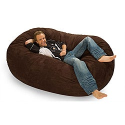Oval 6-foot Dark Brown Microfiber and Foam Bean Bag