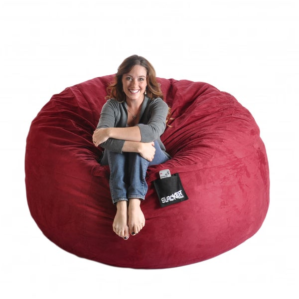 Cinnabar Red 6-foot Microfiber and Foam Bean Bag