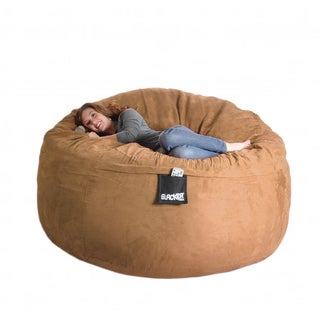 Earth Brown 6-foot Microfiber and Foam Bean Bag