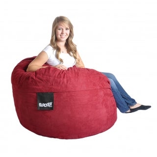 Round Cinnabar 4' Red Microfiber and Foam Bean Bag