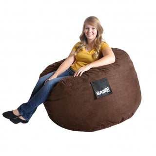 Round Chocolate Brown 4' Microfiber and Foam Bean Bag