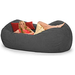 Oval Charcoal Grey Microfiber and Foam 8-foot Bean Bag