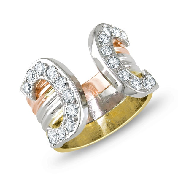 Miadora 14k Tri-Tone Gold 1/2ct TDW Diamond Ring (G-H, SI2) (Size 4)