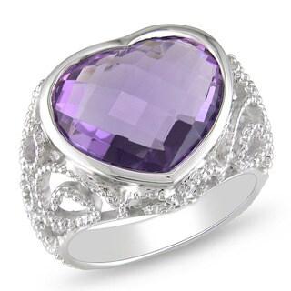 Miadora  14k White Gold 7ct TGW Amethyst Heart Ring