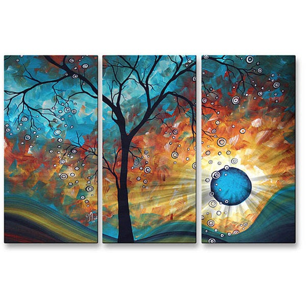 Megan Duncanson 'Aqua Burn' Metal Wall Art