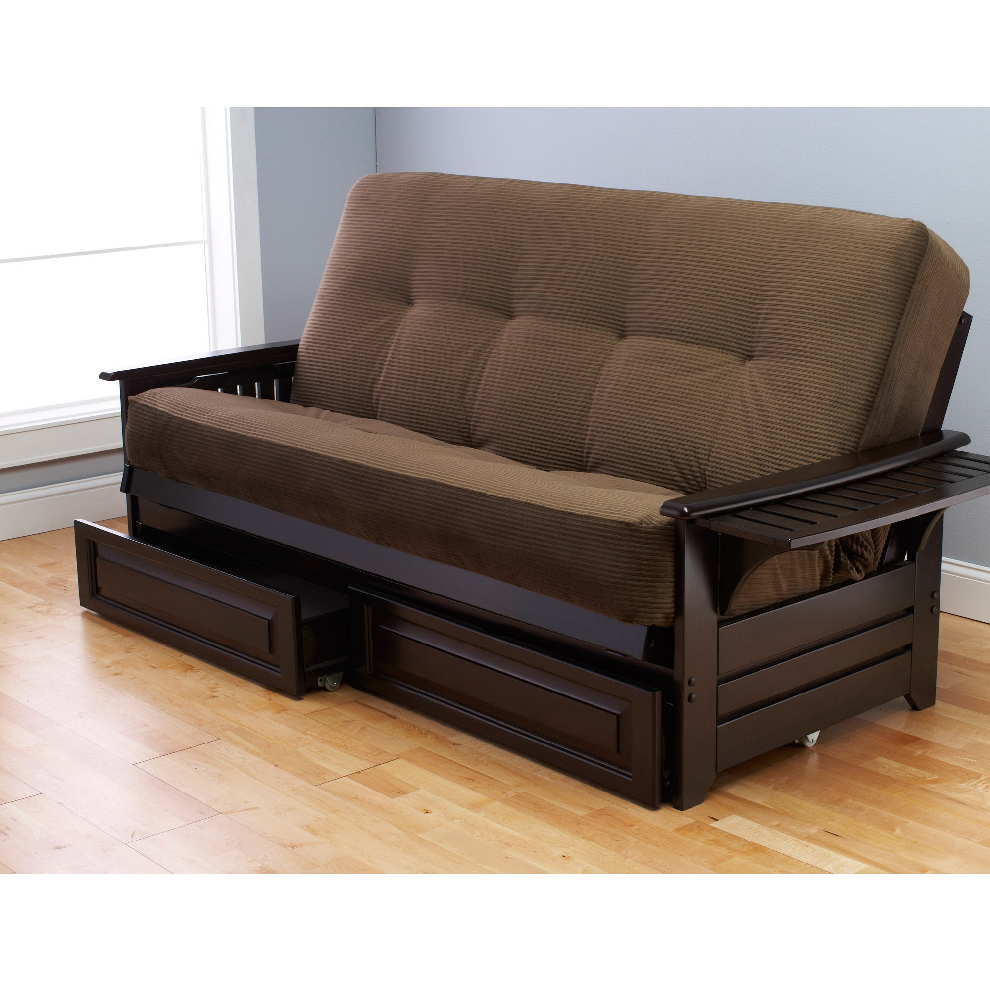 Somette Ali Phonics Multi-flex Espresso Full-size Wood Futon Frame, Drawers and Mattress Set