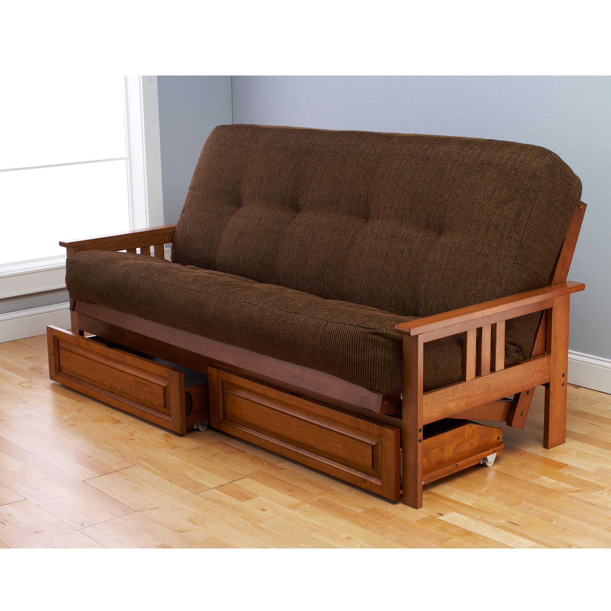 Somette Beli Mont Multi-flex Honey Oak Full-size Futon Frame, Drawers and Mattress Set