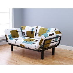 Eli Spacely Multi-Flex Daybed Lounger in Black Metal and Geo White-Green Fabric and Pilllows Set
