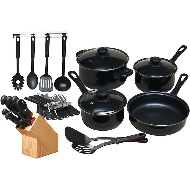 Gibson Chef Du Jour Black Cookware Combo Set