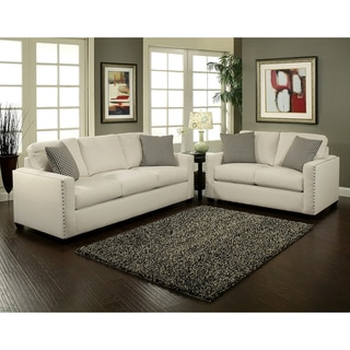 Furniture of America Neveah 2 piece Ivory Contemporary Sofa and Loveseat Set