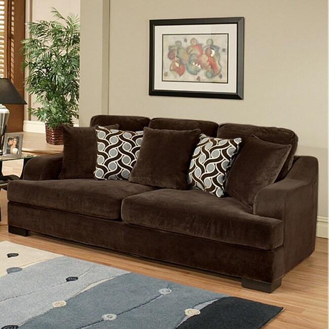 Furniture of America Kailer Chocolate Suede Sofa