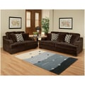 Furniture of America Kailer Chocolate Suede 2 piece Sofa and Loveseat Set