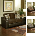 Furniture of America Ambrosio Bicast Leather Loveseat with Suede Upholstery