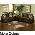 Furniture of America Ambrosio 2 piece Bicast leather Base Sofa and Loveseat with Suede Upholstery