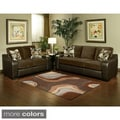 Ambrosio 2 piece Bicast leather Base Sofa and Loveseat with Suede Upholstery
