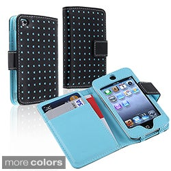 INSTEN Black/ Blue Dot Leather Wallet iPod Case Cover for Apple iPod Touch Generation 4