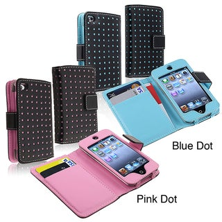 Black/ Blue Dot Leather Wallet Case for Apple iPod Touch Generation 4