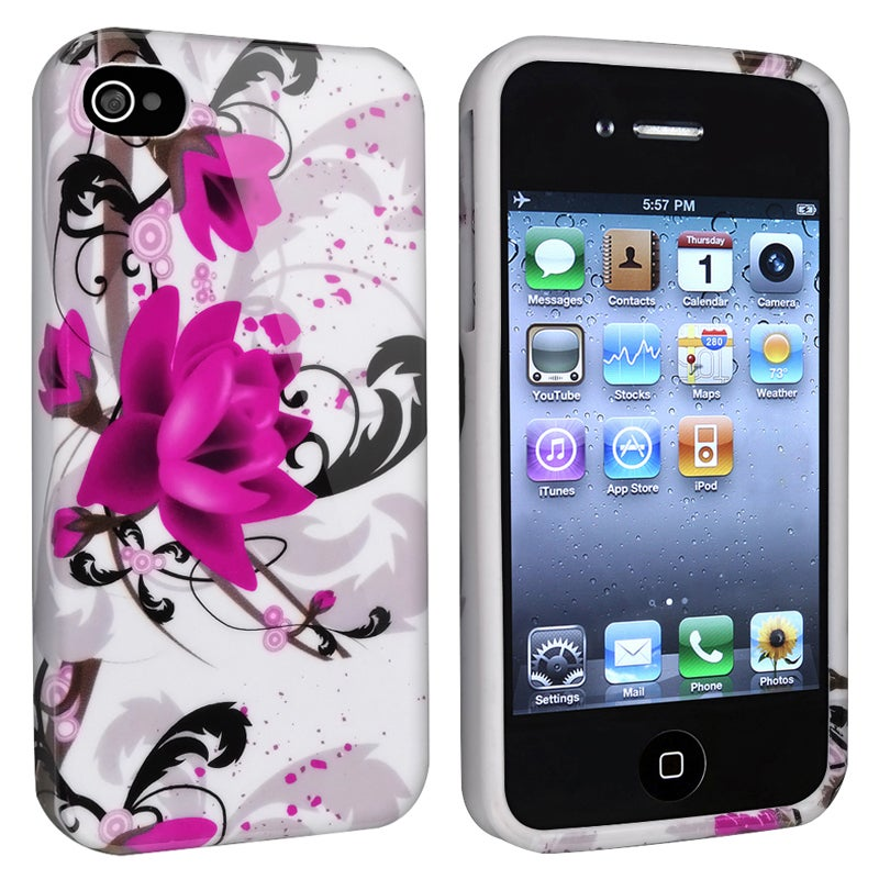 INSTEN White/ Purple Flower TPU Phone Case Cover for Apple iPhone 4/ 4S