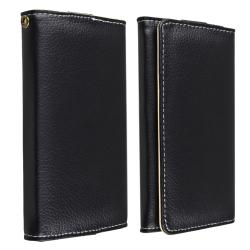 Black Universal Leather Wallet Case for Cell Phone