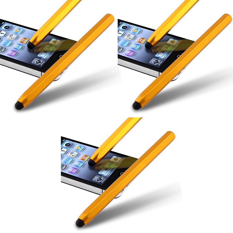 Yellow Metal Stylus for Apple iPhone/ iPod/ iPad (Pack of 3)
