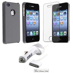 Grey Matte Case/ LCD Protector/ Car Charger for Apple iPhone 4S