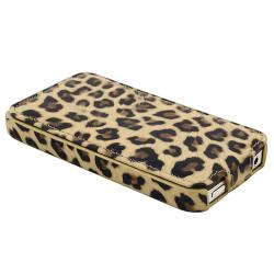 Brown Leopard Case/ LCD Protector/ Headset Wrap for Apple iPhone 4S