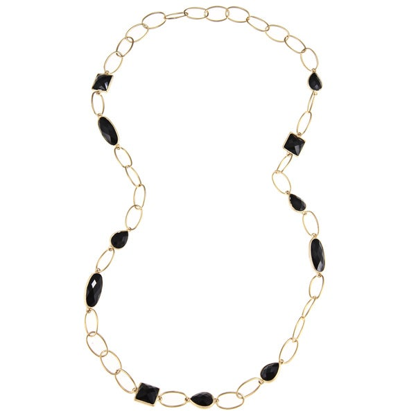 Goldtone Large Link Necklace with Geometric Shaped Crystals (36 inches)