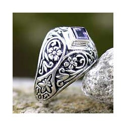 Sterling Silver 'Bali Treasure' Amethyst Domed Ring (Indonesia)