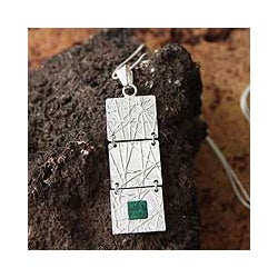 Sterling Silver 'Skylight' Chrysocolla Pendant Necklace (Peru)