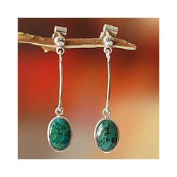 Sterling Silver 'Hypnotic Inca' Chrysocolla Dangle Earrings (Peru)