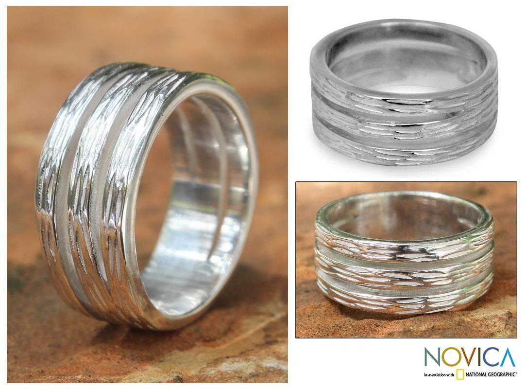 Sterling Silver 'Thai Bamboo' Ring (Thailand)