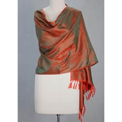 Banarasi Silk 'Orange Borealis' Shawl (India)
