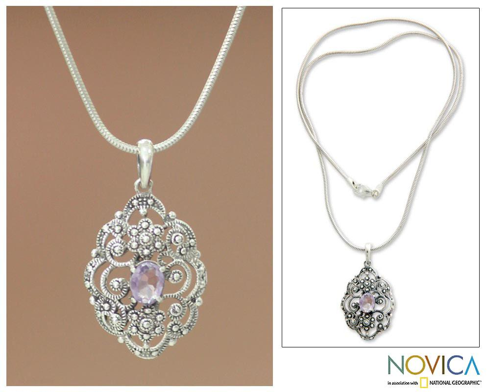Sterling Silver 'Balinese Romance' Amethyst Necklace (Indonesia)
