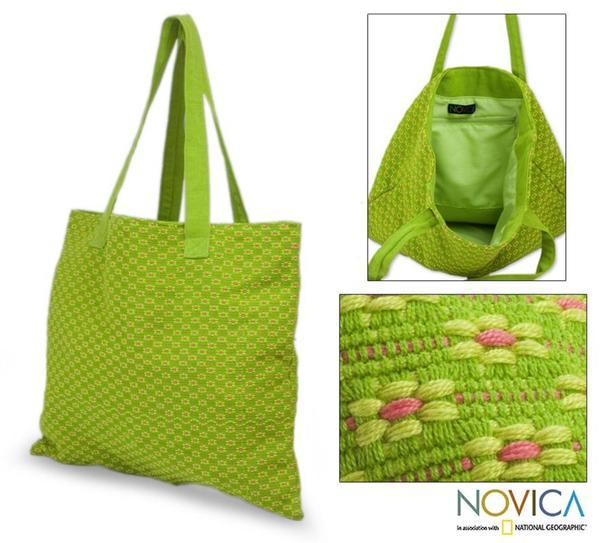 Cotton 'Summer Blooms' Medium Tote Bag (Guatemala)