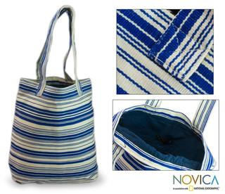Cotton 'Colors of My Ocean' Medium Tote Bag (Guatemala)