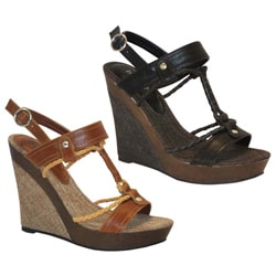 Bucco Women's 'Amisa' Faux Leather Wedged Sandals