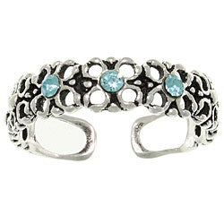 CGC Sterling Silver Triple Blue Crystal Flower Toe Ring