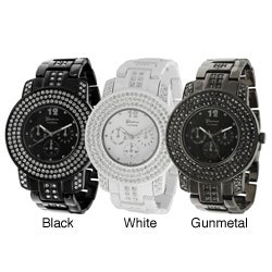Geneva Platinum Men's Rhinestone-Accented Luminecent-Hands Chronograph-Style Link Watch
