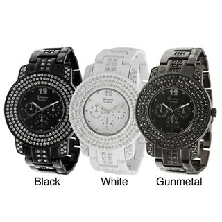 Geneva Platinum Men's Rhinestone-Accented Luminecent-Hands Chronograph-Style Link Watch