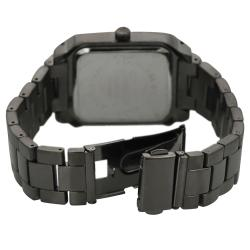 Quartz Geneva Platinum Men's Rhinestone-accented Silicone Watch