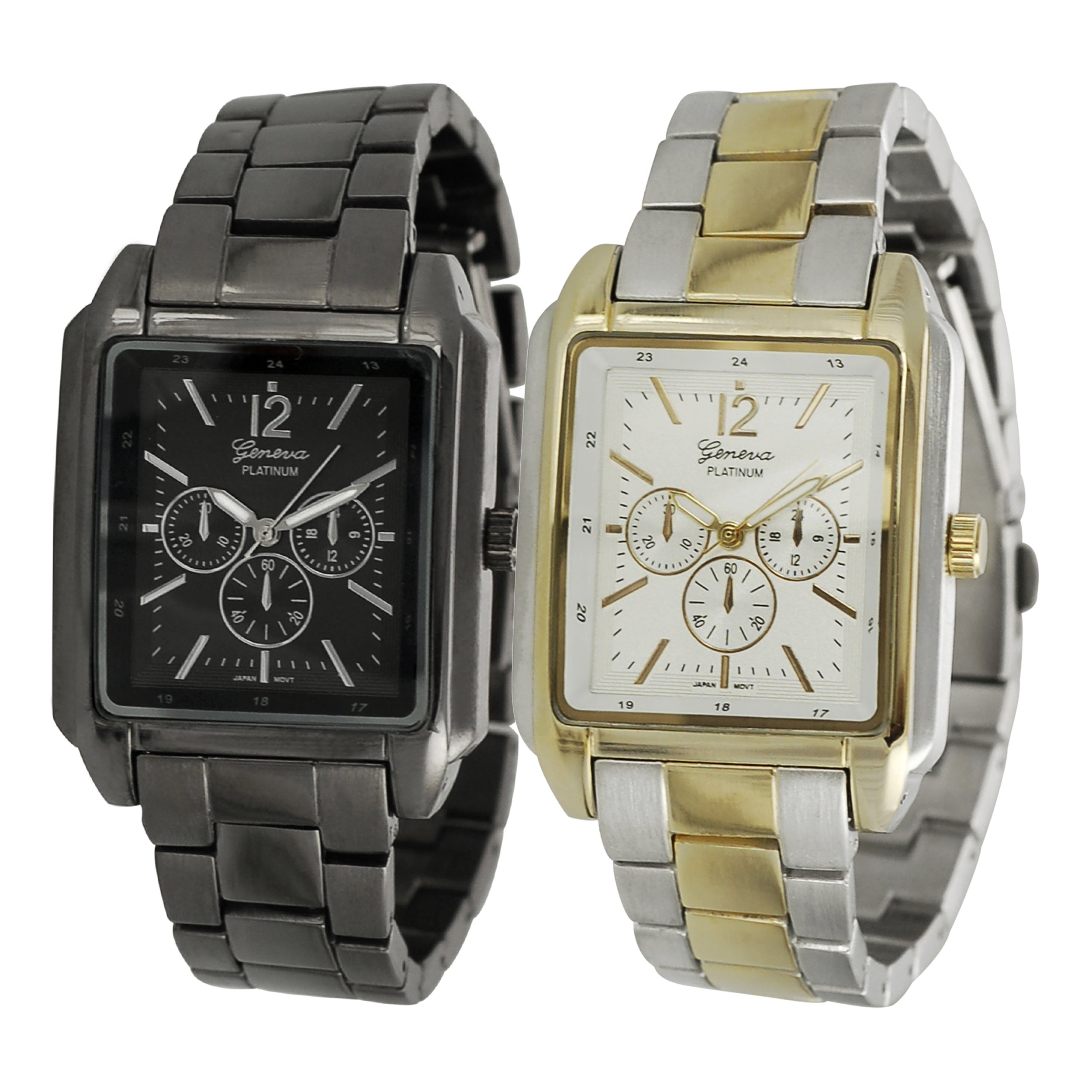Geneva Platinum Gunmetal/Silvertone Chronograph-Style Link Watch